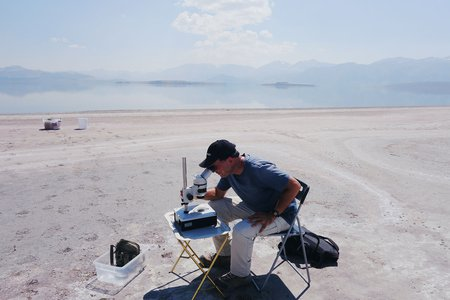 Researchers examine nematodes by Mono Lake in the Eastern Sierras of California.