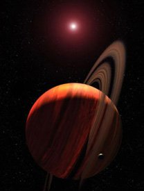 An artist's rendering of a gas-giant exoplanet