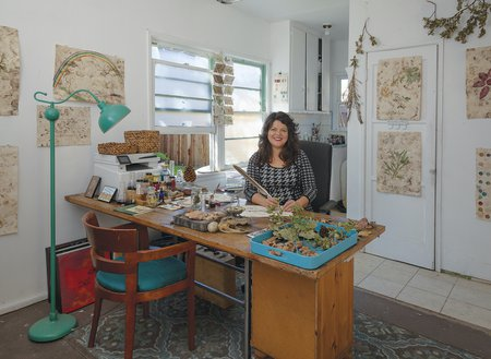 Sandy Rodriguez in her studio