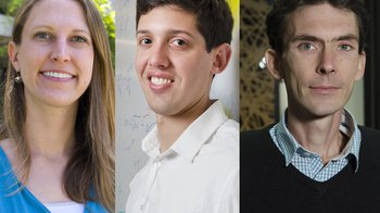 Triptych of headshots: Heather Knutson, Austin Minnich, and Thomas Vidick