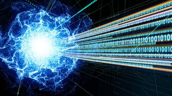 An artist's concept of quantum computing. A string of ones and zeroes is emitted from a blue blob of plasma.