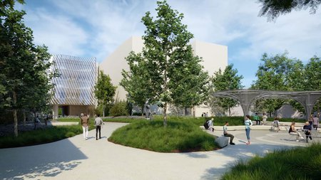 rendering of the outdoor space of the Resnick Sustainability Institute Research Building