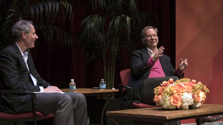 Eric Schmidt, executive chairman of Alphabet (right), speaks with Caltech President Thomas F. Rosenbaum about how rapid changes in technology will affect society.