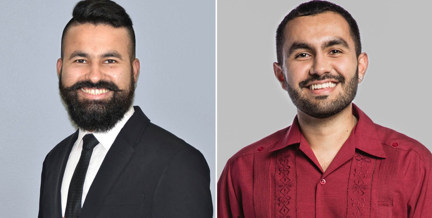 Left: headshot of a man in a suit jacket and tie. Right: headshot of a man in a red button up shirt.