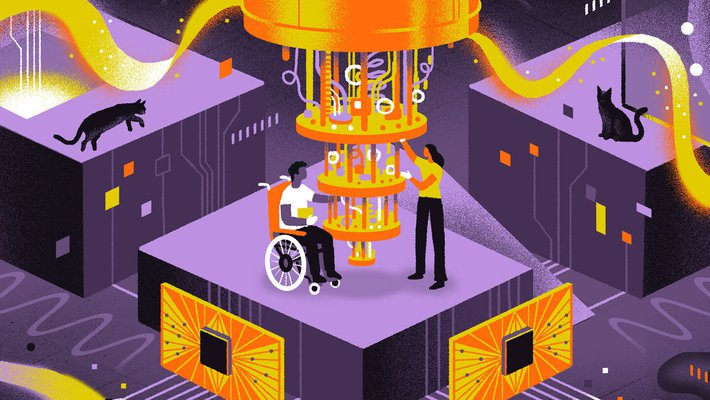 Illustration of a quantum computer with two people next to it, one in a wheelchair