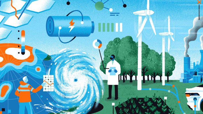 Illustration of sustainability scientists and the earth