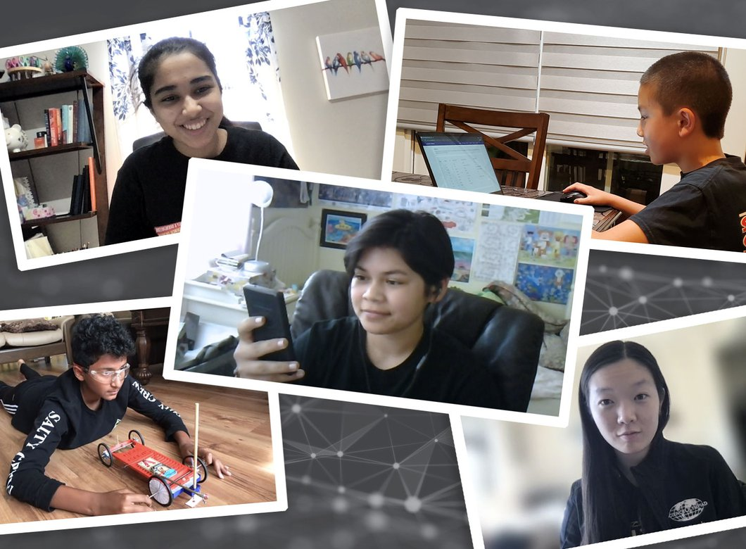 collage of Caltech volunteers and competitors in an April 2021 Science Olympiad event