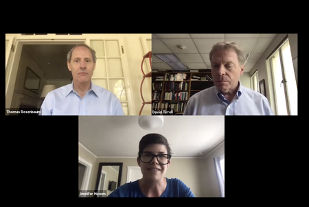 President Thomas F. Rosenbaum, Provost David A. Tirrell and Jennifer Howes, executive director of student wellness services, appear in online discussion.