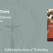 Title card for Xueyue Zhang, master of science in physics, as she poses with the Caltech Beaver mascot