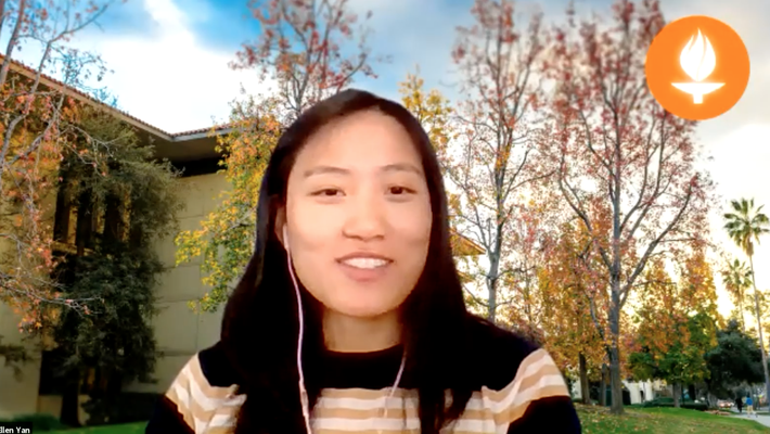Ellen Yan in Zoom meeting with campus background