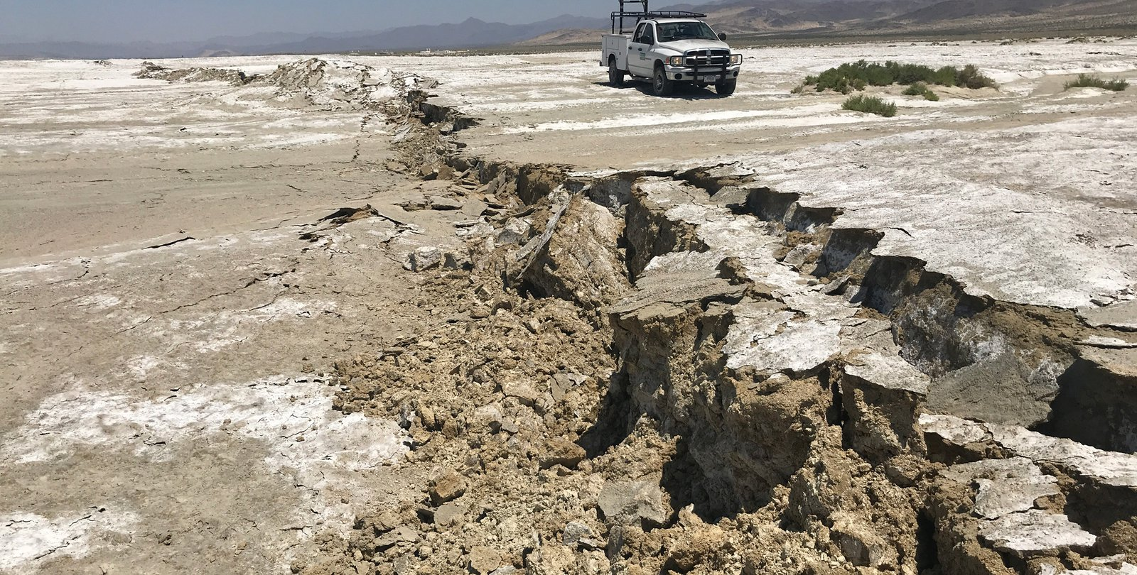 A surface rupture shows ground movement following a pair of large earthquakes that struck near Ridgecrest, CA, on July 4 and 5.