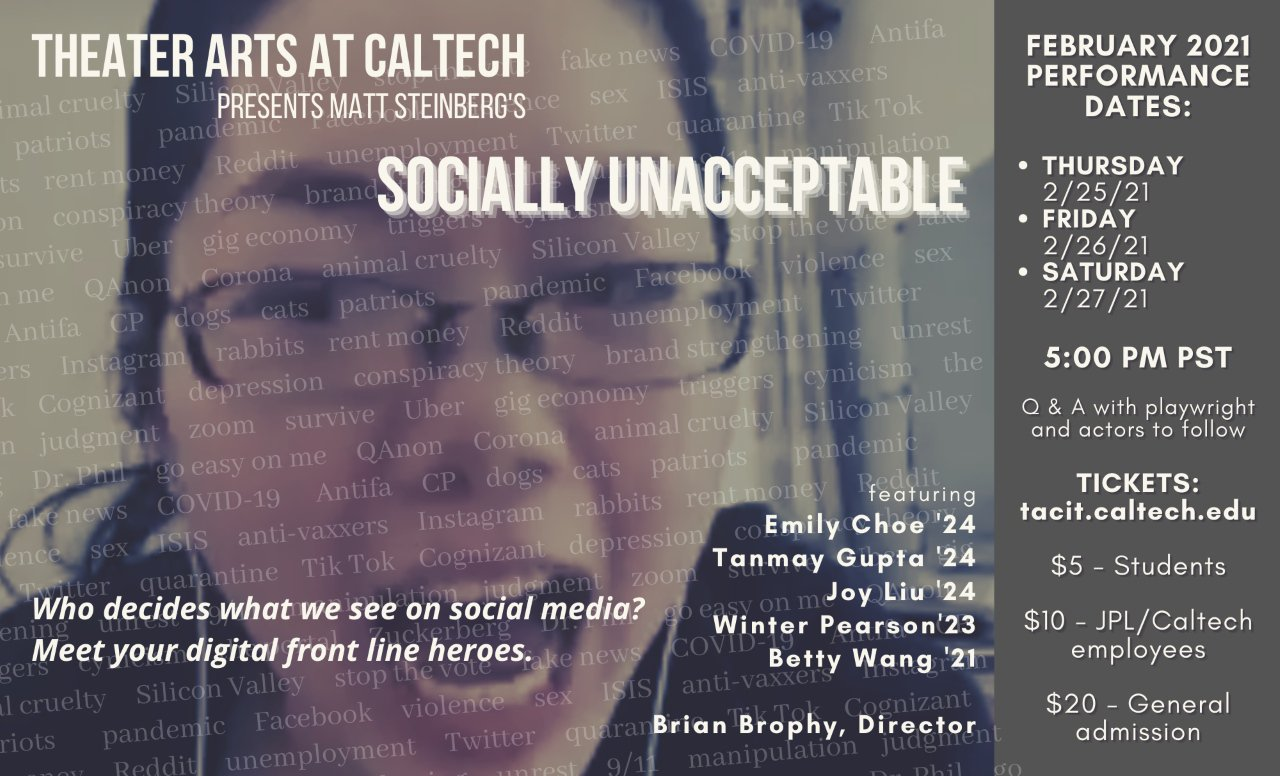 "flyer for ""Socially Unacceptable"""