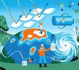 graphic illustrating sustainability themes