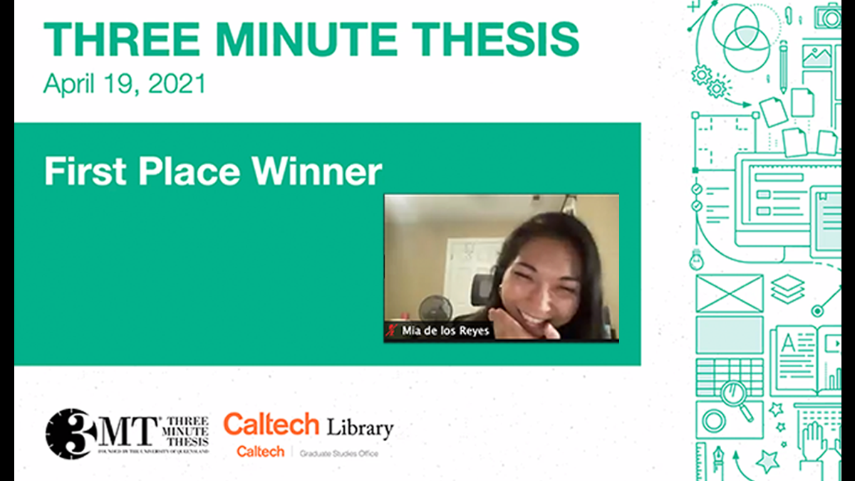 Picture of a powerpoint slide on the left of the image, which reads: 3 Minute Thesis First Place, with a thumbnail image of a female student with black hair on the right.
