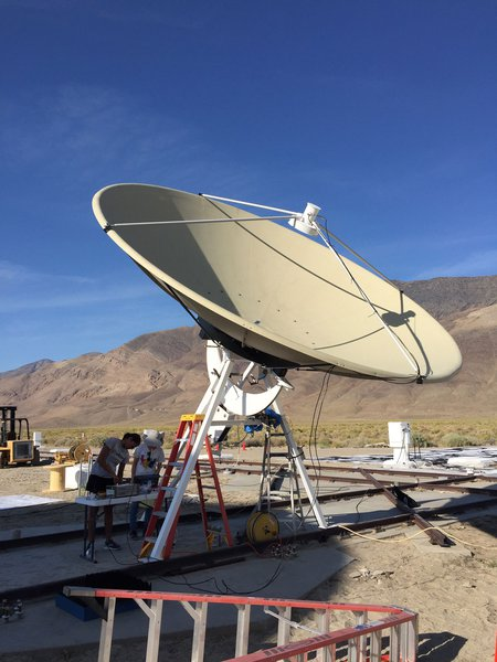 A prototype radio antenna of the Deep Synoptic Array at the Owens Valley Radio Observatory