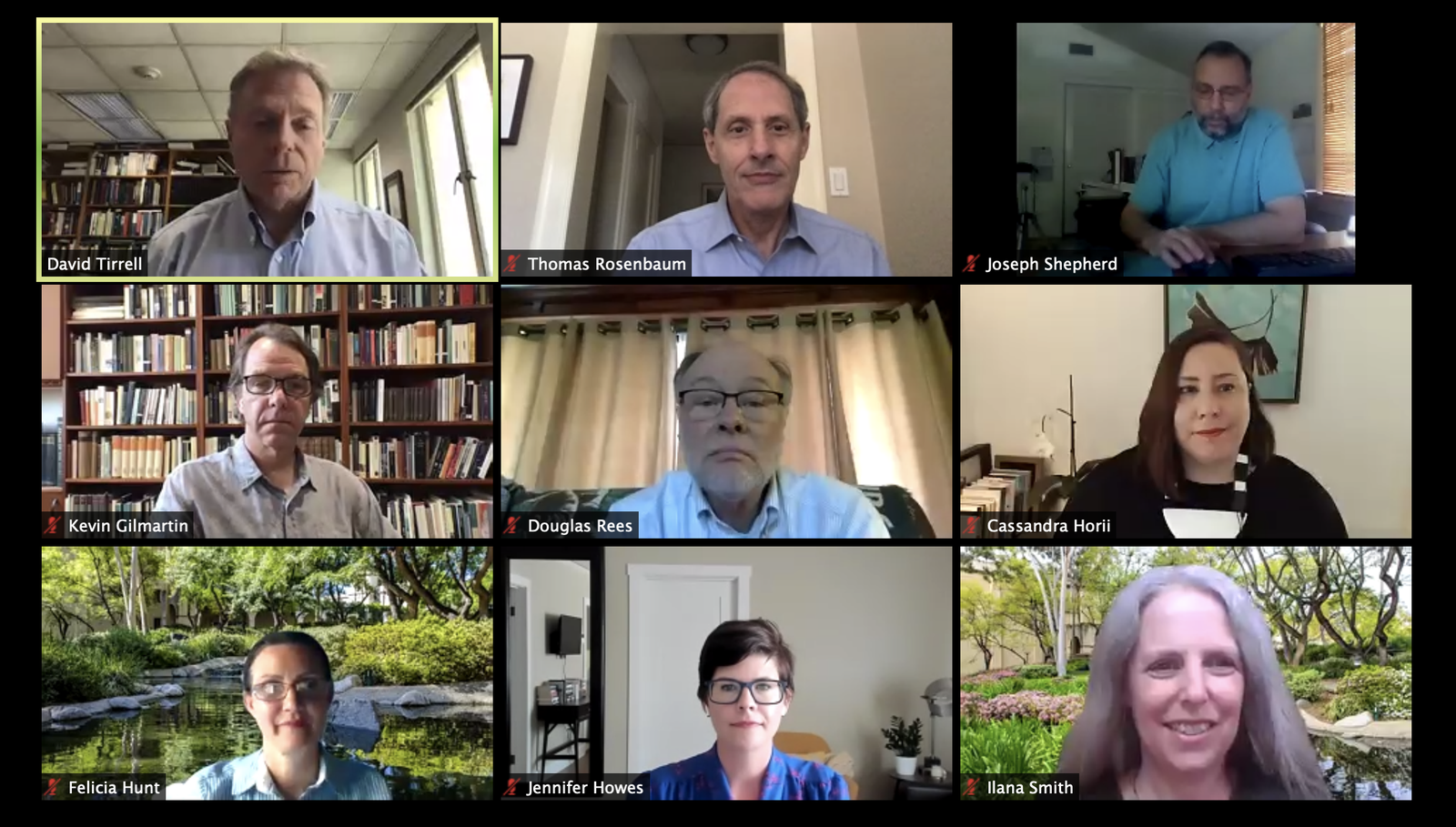 Screenshot of the Zoom meeting discussing plans for fall term