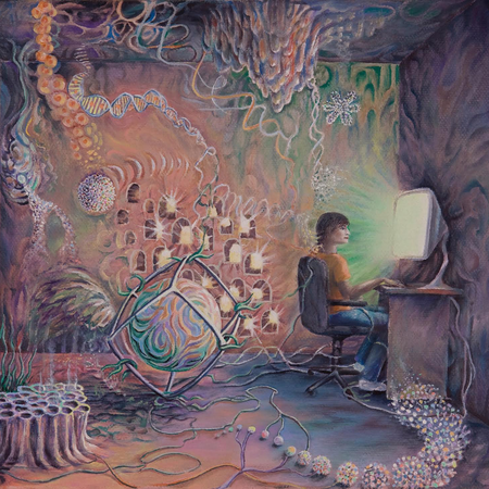 A man at a computer. Artistic biological objects flow from it.