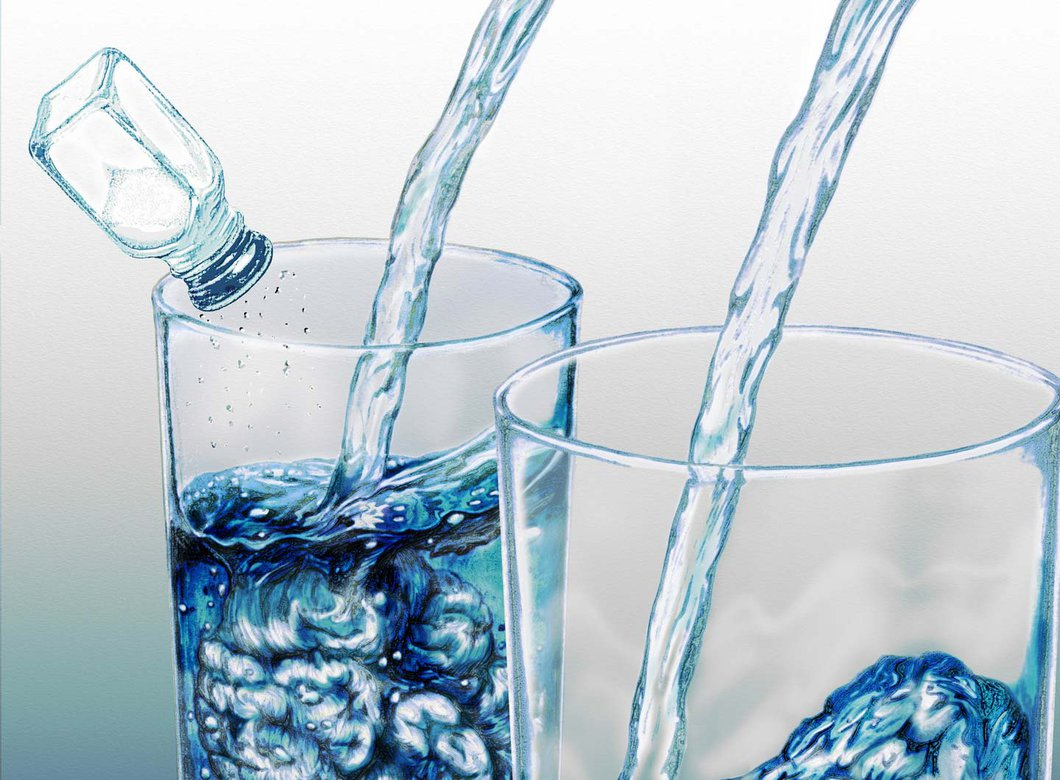 Two glasses of water, one with salt (representing electrolytes) in it