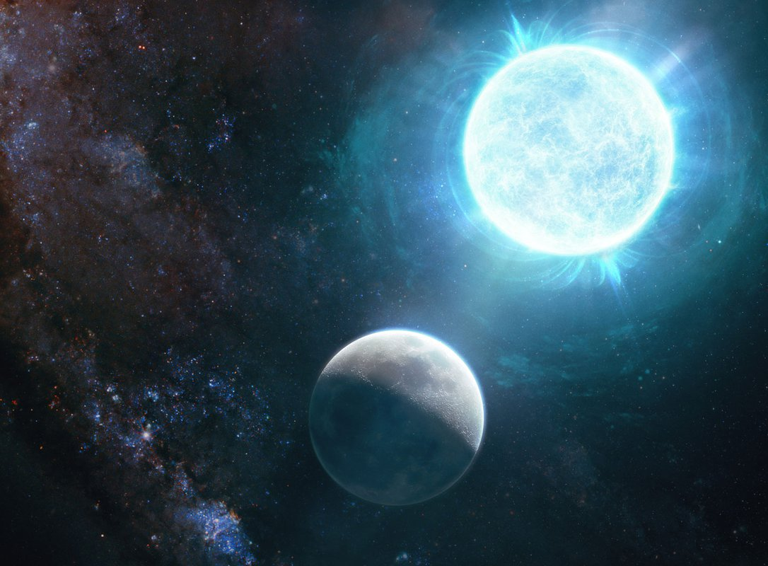 Artwork of a white dwarf in comparison to Earth's moon.