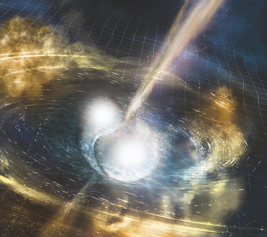 Artist's concept of two neutron stars colliding.