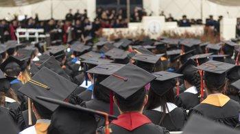 sea of graduation caps at Commencement