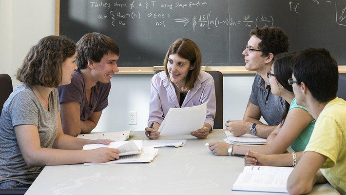 Professor of Mechanical and Civil Engineering Domniki Asimaki with undergraduates