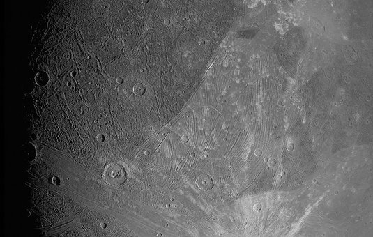 close-up photo of the surface of Jupiter's moon Ganymede