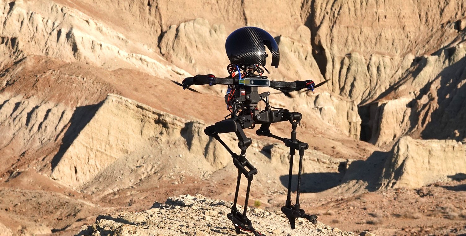 A black robot with a big, shiny head and spindly legs, flies over a rocky desert landscape with jagged hills in the background.
