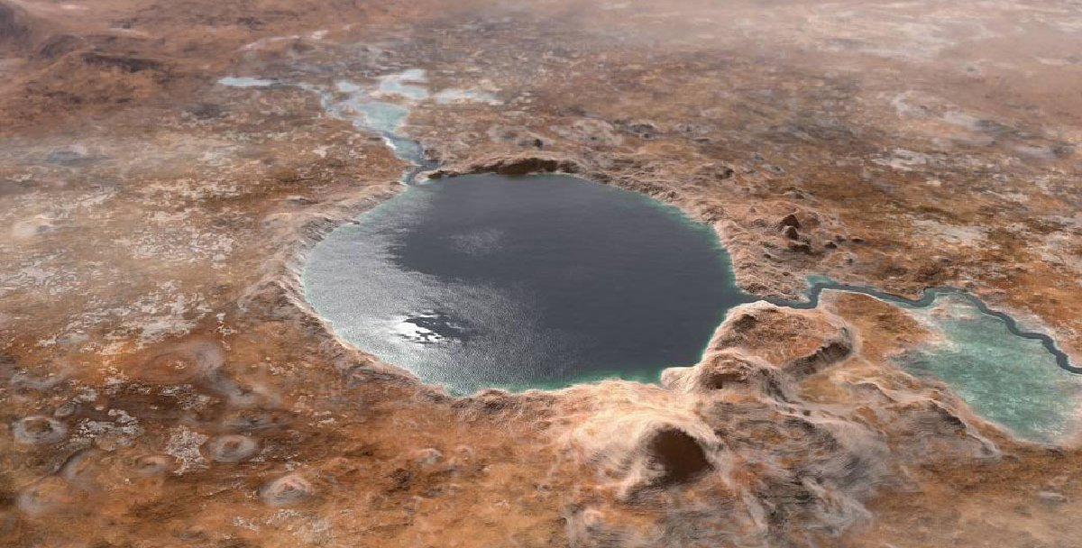 A large crater on Mars is filled with water, appearing as a lake with rivers emptying into it.
