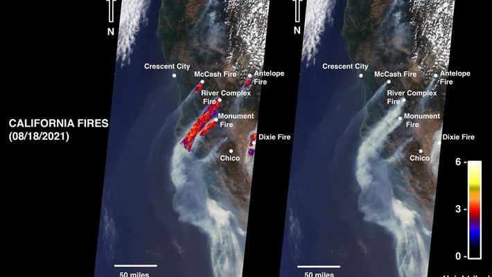 Satellite image of smoke plumes from five fires burning in Northern California.