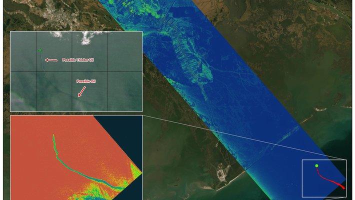 satellite photo revealing oil slick