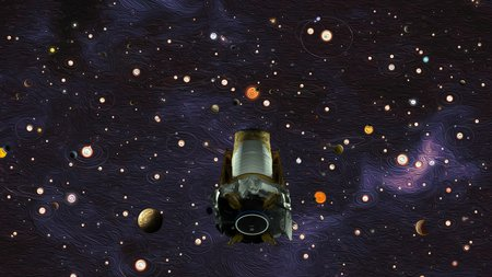 Artwork of Kepler telescope in space