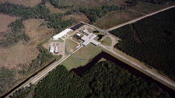 aerial photo of the LIGO facility in Livingston, Louisiana