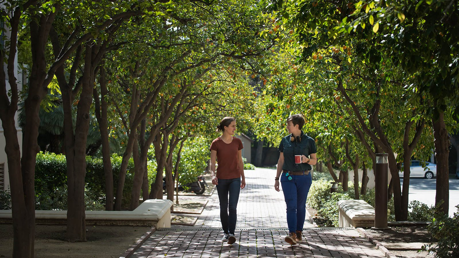 students on Caltech campus
